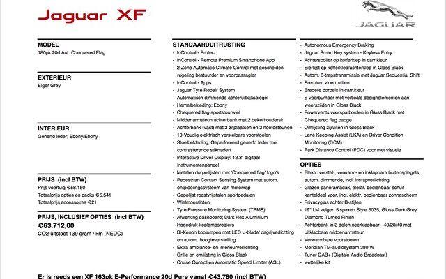 Jaguar XF 2.0D 180PK RWD CHEQUERED FLAG